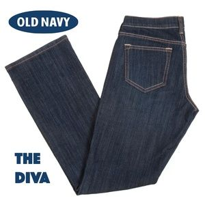 Old Navy Diva Jeans Boot Cut Low Rise Dark Wash